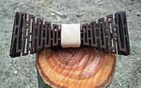 Деревянная бабочка галстук Беж ручной работы, серия Flexion