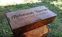 Подарочная деревянная коробка под бабочку с вашим логотипом и надписью