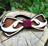 Деревянная бабочка галстук Усики ручной работы, серия Fantasy