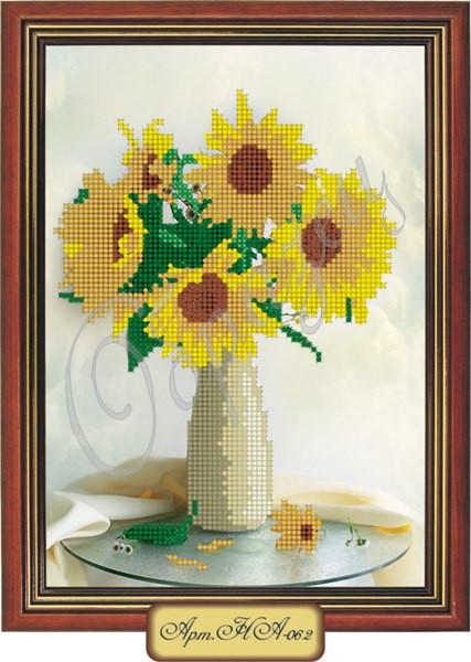 Схема для вышивки бисером «Подсолнухи в вазе»