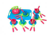 Детский набор игрушечной посуды на подносе в ассортименте