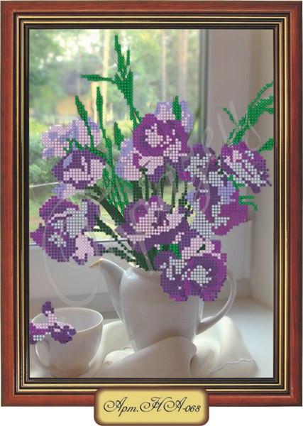 Схема для вышивки бисером «Фиолетовые ирисы в вазе»