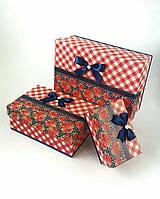 Прямоугольный подарочный комплект коробок ручной работы клетчатая с красными розами