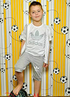 Детский стильный спортивный костюм тройка: бриджи, жилетка, футболка