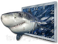 """Настенные фигурные часы """"Акула и тунец"""" (30х40 см), детские часы, часы для детской"""