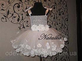 Юбка-платье ту-ту из фатина с лепестками и повязкой, белое, фото 2