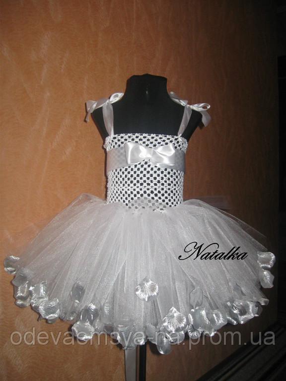 Юбка-платье ту-ту из фатина с лепестками и повязкой, белое