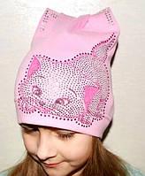 Весенняя трикотажная  шапка для девочки - D1711