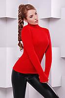 Женская трикотажная водолазка красного цвета батал р.54-56