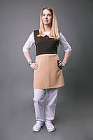 Платье – фартук «ГОРНИЧНАЯ»,коричневый с бежевым