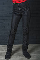 Штаны женские зимние с завышенной талией черные 42-54 р-ры