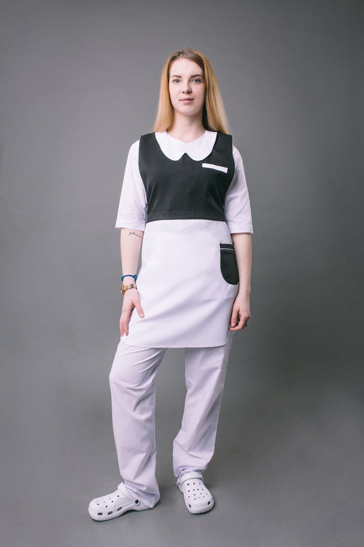 Платье – фартук «ГОРНИЧНАЯ»,черный с белым