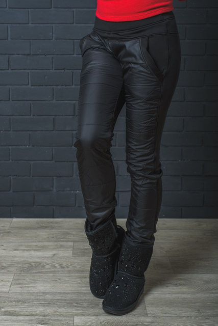 Штаны женские теплые мех+плащевка черные 42-54 р-ры