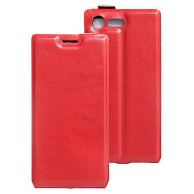 Чехол книжка для Sony Xperia X Compact F5321 вертикальный флип, Гладкая кожа, Красный