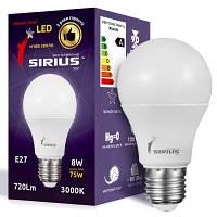 LED лампа Siriusstar А60 классика 8W E27 3000K (1-LS-3101) 800Lm
