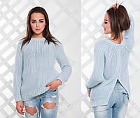 Женский стильный теплый вязанный свитер с молнией сзади (3 цвета)