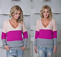 Женский стильный трехцветный вязанный свитер (3 цвета)