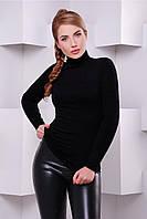 Женская черная стильная трикотажная водолазка р.46-48