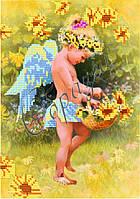 Схема для вышивки бисером «Ангелок с корзиной цветов»