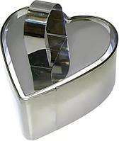 Форма нерж. для гарнира с выталкивателем сердце 4см