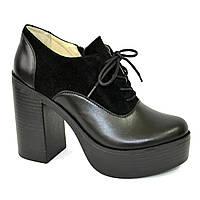 Женски туфли на высоком устойчивом каблуке, на шнуровке, натуральная кожа и замша