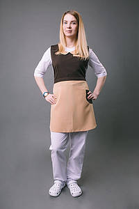 Платье – фартук «ГОРНИЧНАЯ»,коричнево-бежевый