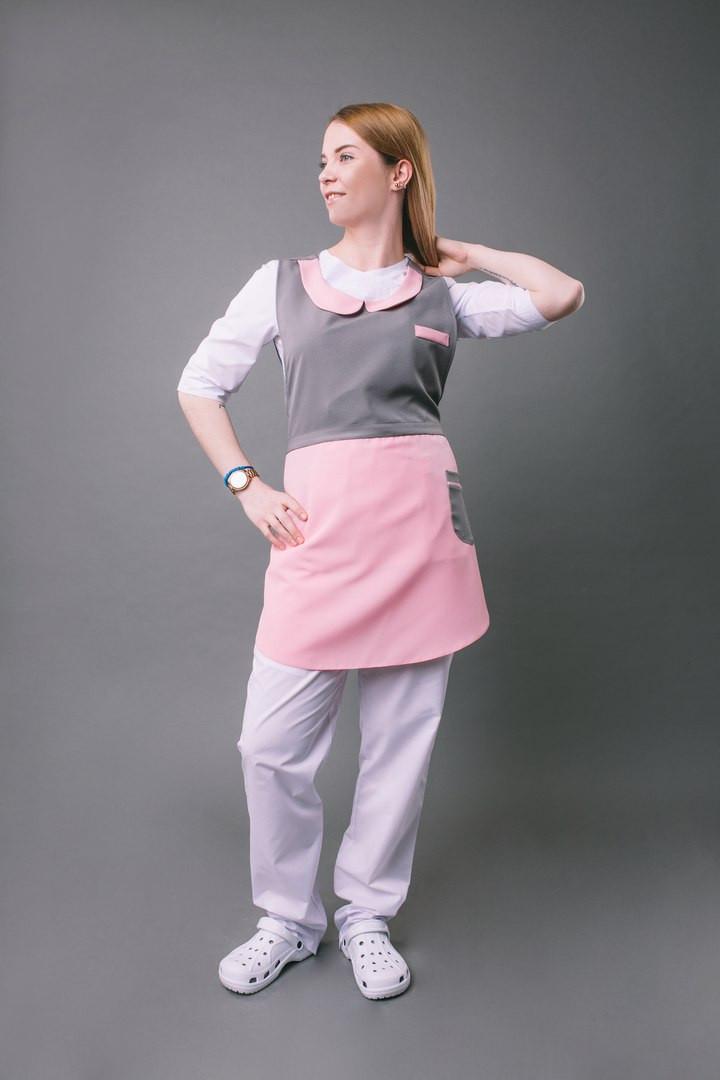 Платье – фартук «ГОРНИЧНАЯ»,серый с розовым