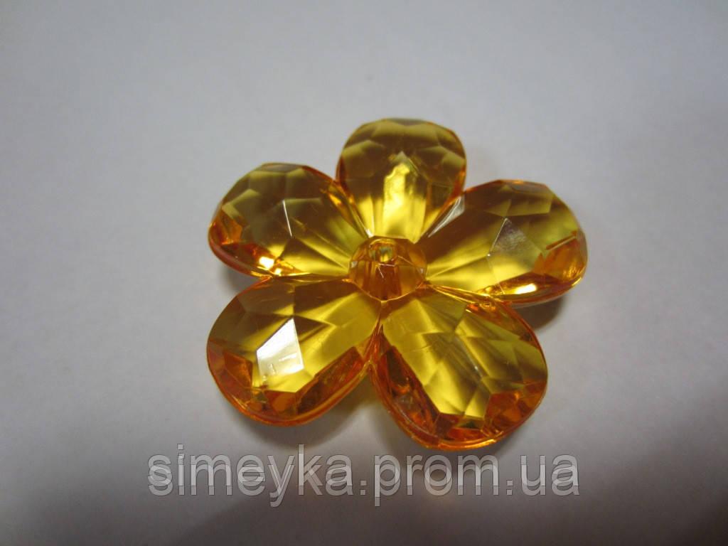 Цветок акриловый объёмный, рифлёный, для заколки, бижутерии, диаметр 4 см. Желтый