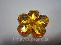 Цветок акриловый объёмный, рифлёный, для заколки, бижутерии, диаметр 4 см. Желтый, фото 1