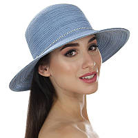 Пляжная шляпа голубая с лентой из страз
