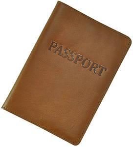 Кожаная обложка для паспорта Pass  рыжая