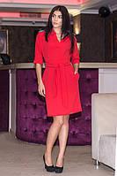 Строгое красное платье с 3/4 рукавом