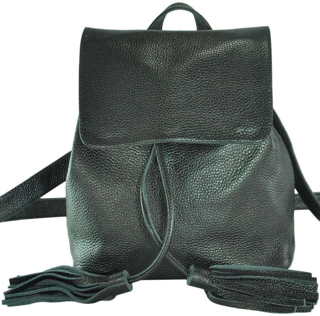 Кожаный женский рюкзак Лейпциг черный