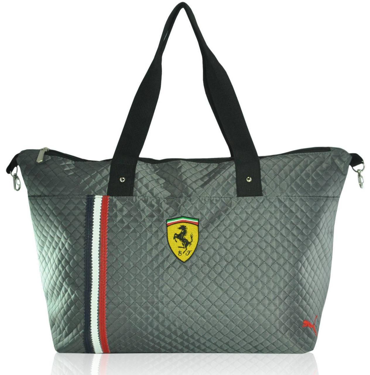 Спортивна стьобана сумка Puma Trapeze сіра репліка