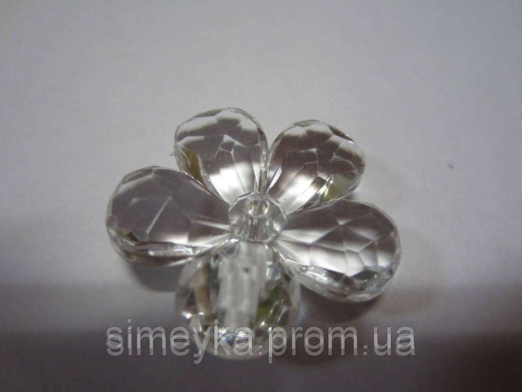 Цветок для бижутерии акриловый объёмный, рифлёный, диаметр 3 см