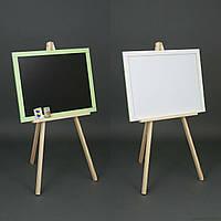 Мольберт М 004 двухсторонний магнитный + мелки (1) размер доски 600*460мм. цвет зеленый