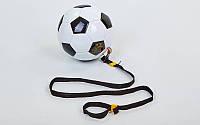 Мяч футбольный тренировочный футбольный тренажер №4 FB-5501 (PU, черный-белый)