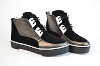 Сникерсы женские на шнурках черные