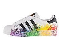Мужские кроссовки  Adidas  Originals Superstar Pride Pack White Rainbow, фото 1