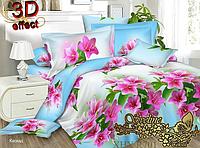 Комплект постельного белья 3D поликоттон двуспальный PC701_blue