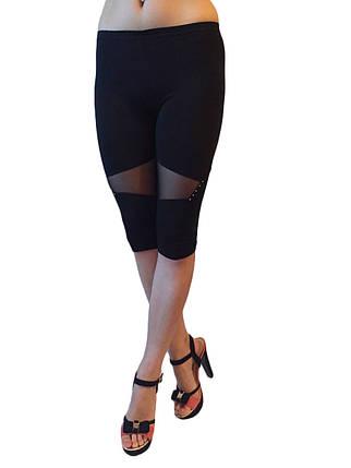 Капри вискоза черные со вставкой из гипюра и стразами №314, фото 2