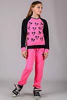 Детский спортивный костюм с Микки Маусом розовый брюки на резинке (манжет) трикотажный Турция