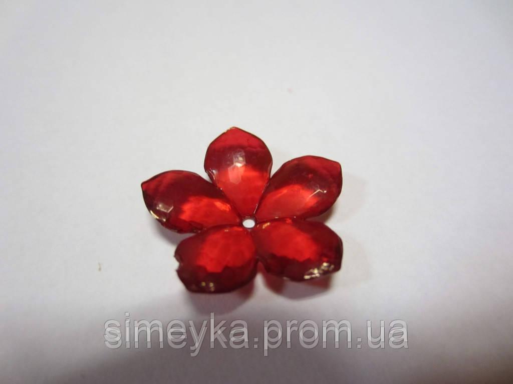 Цветок бусина акриловый (под стекло) с заостренными лепестками, красный, диаметр 23 мм. Красный