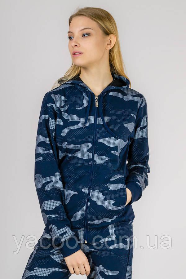 Молодежный женский спортивный костюм милитари стиль. Трикотаж ХБ двунитка синий комуфляжный, XL
