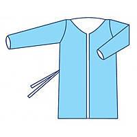 Халат  для посетителя  пл.30  г/м2  на завязках, нестер. голубой