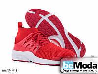 Молодежные мужские высокие кроссовки Violeta Red оригинального фасона из текстиля красные
