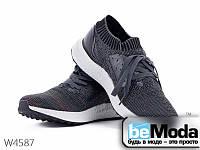 Стильные мужские кроссовки Violeta D.Grey/Black из текстиля с имитацией вязки серые