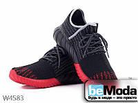 Эффектные мужские кроссовки  Violeta Black/Red из оригинального текстиля необычного фасона черные с красным
