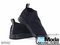 Модные женские кроссовки Violeta Black с мягким текстильным верхом черные