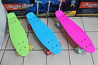 Скейт пенни борд со светящимися прозрачными колесами